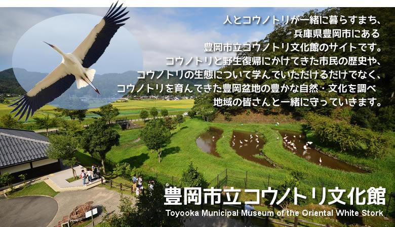 人とコウノトリが一緒に暮らすまち、 兵庫県豊岡市にある 豊岡市立コウノトリ文化館のサイトです。 コウノトリと野生復帰にかけてきた市民の歴史や、 コウノトリの生態について学んでいただけるだけでなく、 コウノトリを育んできた豊岡盆地の豊かな自然・文化を調べ 地域の皆さんと一緒に守っていきます。